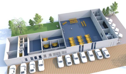 Hoe het gebouw van de Verkennersband in de eindsituatie uit komt te zien.